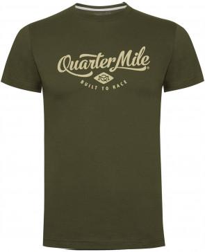 Quarter Mile QM Classic Logo Military Green Mens Gents T Shirt