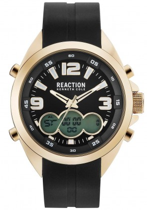 Kenneth Cole Reaction Black & Gold Mens Gents Wrist Watch RK50488019