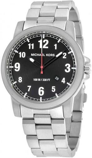 Michael Kors Paxton Black & Silver Mens Gents Wrist Watch MK8500