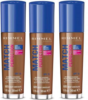 Rimmel Ladies Womens Match Perfection 30ml Deep Chocolate Foundation 605 x 3 pack