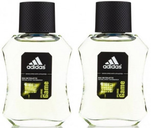 Adidas Mens Gents Pure Game 100 ml EDT Fragrance Aftershave Cologne 2 Pack
