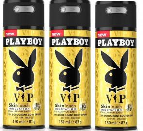 Playboy Mens Gents VIP Deodorant Body Spray 150ml 3 Pack
