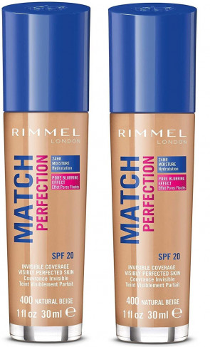 RIMMEL LADIES WOMENS MATCH PERFECTION 30ML FOUNDATION NATURAL BEIGE 400 2 PACK