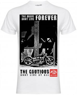 Quarter Mile QM Cautious Mens Gents White T-Shirt