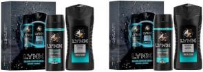 Lynx Mens Gents Leather & Cookies Shower Gel Body Spray Gift Set 2 Pack