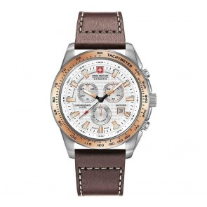 Swiss Military Mens Gents Crusader Silver & Brown Wrist Watch 06-4225.04.001.09
