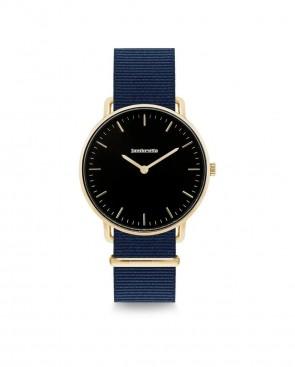 Lambretta Bianca 34 Gold Black Nato Blue Ladies Womens Wrist Watch 2276BLU