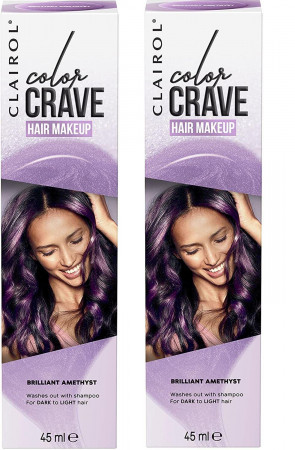 Clairol Ladies Womens Colour Crave Non-Permanent Hair Makeup Amethyst 45 ml 2 Pack