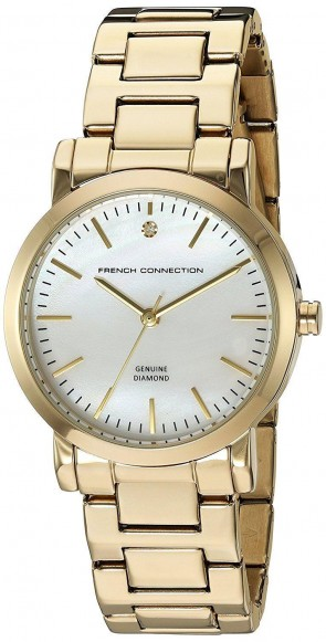 French Connection Womens Wrist Watch Goldr Dial Gold Bracelet FC1275GM